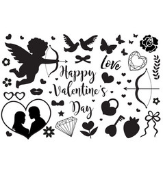 happy valentine s day set of icons stencil black vector image vector image