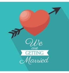Invitation we are getting married heart shadow vector