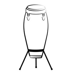 Isolated conga drum outline musical instrument vector
