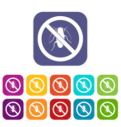 no cockroach sign icons set vector image vector image
