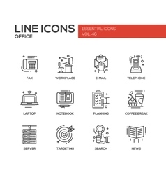 Office - flat design line icons set vector image vector image