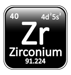 Periodic table element zirconium icon vector