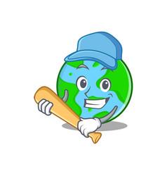 Playing baseball world globe character cartoon vector