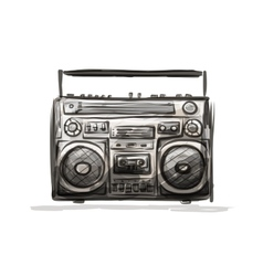 Retro cassette recorder sketch for your design vector image vector image