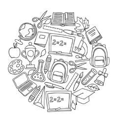 School background with hand drawn icons on chalk vector image