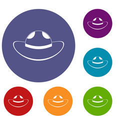sea hat icons set vector image