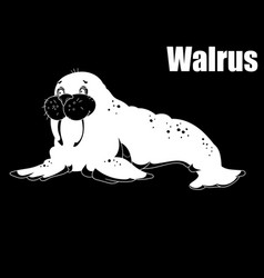 sea walrus an animal of the north pole coloring vector image vector image