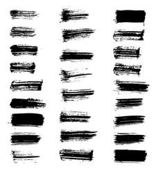 set of black paint brush spots vector image