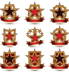 Set of geometric glamorous golden elements vector