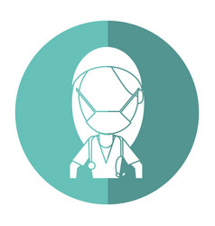 Surgeon woman with mask medical stethoscope shadow vector