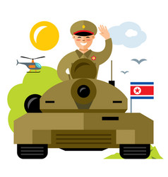 Tankman north korea flat style colorful vector