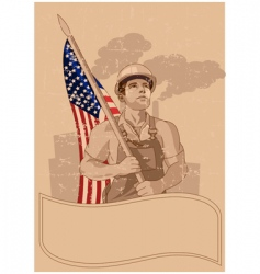 Worker and a american flag vector