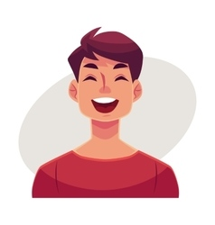 Young man face laughing facial expression vector