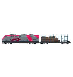 Locomotive with platform for timber transportation vector