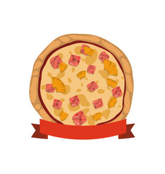 Pizza pineapple ham cheese vector