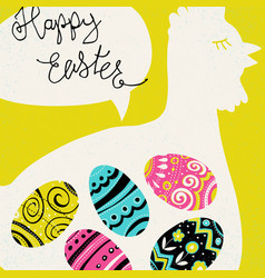 happy easter greetings bright eggs and chicken vector image