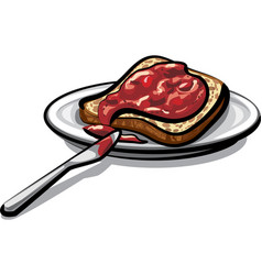 bread with jam vector image