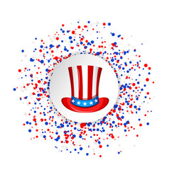 Uncle sam hat for the 4th of july with circle vector