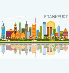 Frankfurt skyline with color buildings blue sky vector