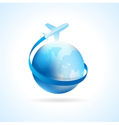 Airplane flight air fly travel takeoff blue globe vector