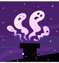 Halloween ghosts and chimney vector
