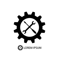 Gear wheel and piece as logo vector
