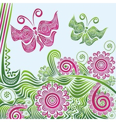 Nature pattern background butterflies vector image