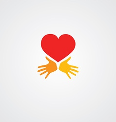 Heart with hands symbol vector