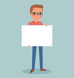 Young man wear glasses holding blank sign vector