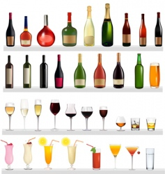 bottles and cocktails vector image