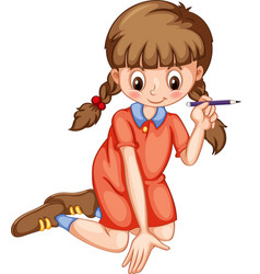Girl writing with pencil vector