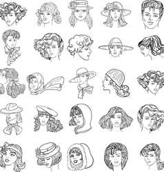 Hand-drawn fashion model faces vector