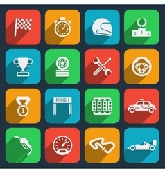 Car tools and car race icons vector