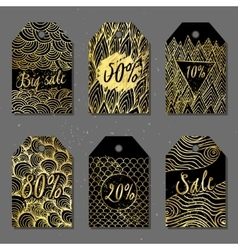 Tags with golden pattern vector