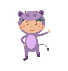 Child wearing costume of hippo vector