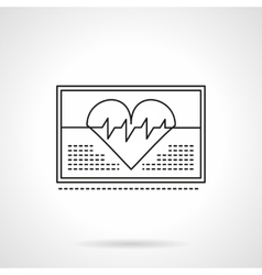 Heartbeat on monitor flat thin line icon vector