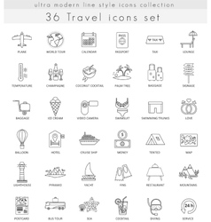 Travel ultra modern outline line icons for vector