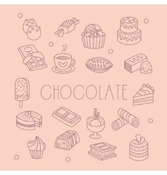 Chocolate related object set with text vector