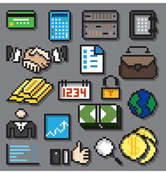 Digital pixel financial icons set vector