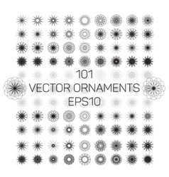 A set of 101 round spirograph geometric ornaments vector image vector image
