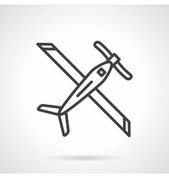 Biplane black line icon vector