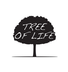 black tree and text tree of life vector image vector image