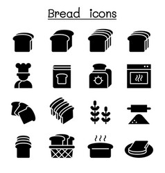 Bread loaf bakery pastry icon set graphic design vector