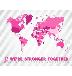 Breast cancer worldwide map global pink united vector image vector image