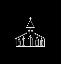 Church line icon religion building elements vector