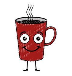 Coffee mug kawaii character vector