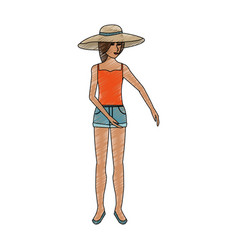 Color pencil full body woman with beach hat and vector
