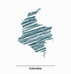 Doodle sketch of colombia map vector