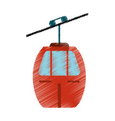 Drawing red cable car transport image vector