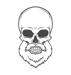 Evil bearded jolly roger logo template old biker vector